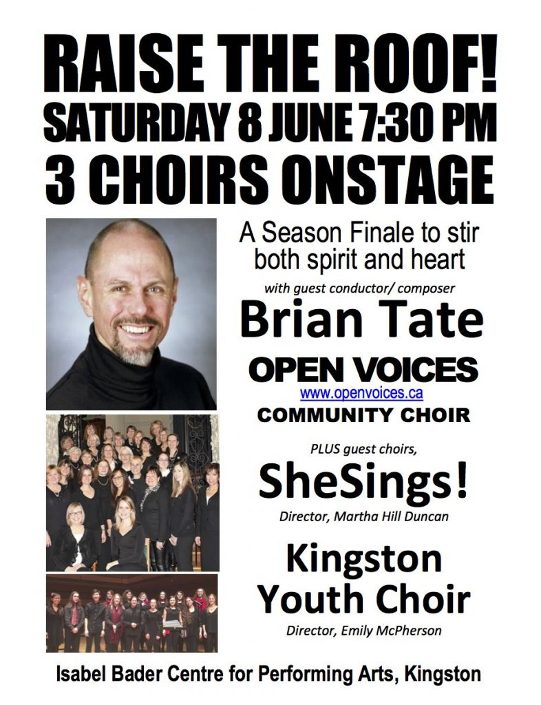 Raise the Roof! Open Voices concert with Brian Tate, Saturday June 8, 7:30PM