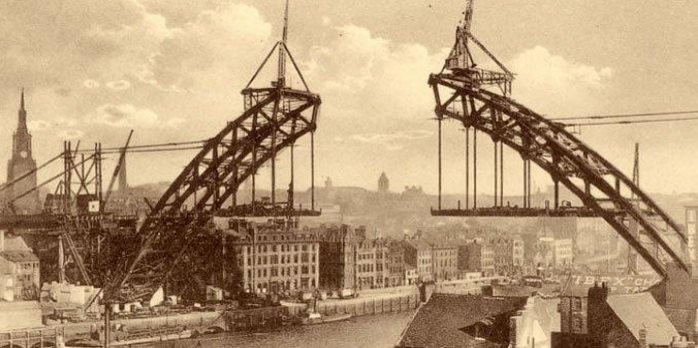 Picture of a bridge being built